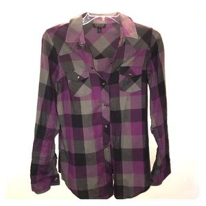 Topshop US 4 Plaid Button Down Shirt - worn once